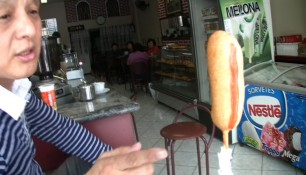 Hot dog, corn dog, snack, finger, pointing, koreans, sao paulo, brazil
